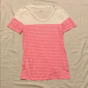 Neon pink and white linen tee